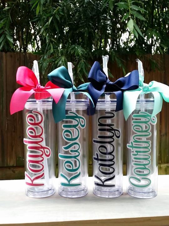 Acrylic tumbler with double layered names