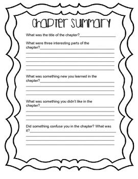 Chapter Summary Worksheet