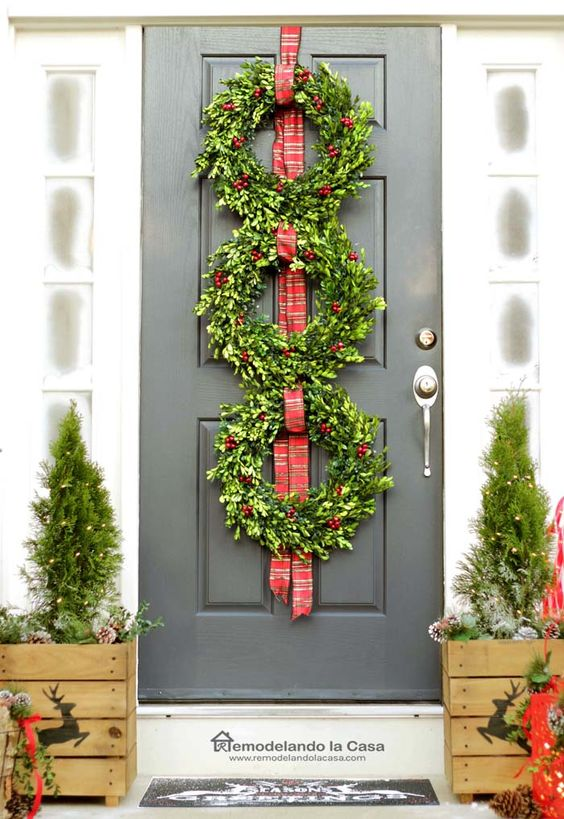 Christmas Front Porch with Boxwood Wreath Trio