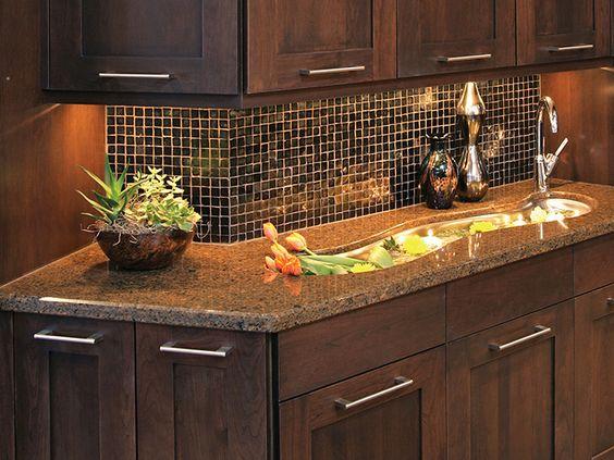 Dark Wood Dark Countertop Dark Backsplash No Cambria Quartz Stafford Brown Kitchen