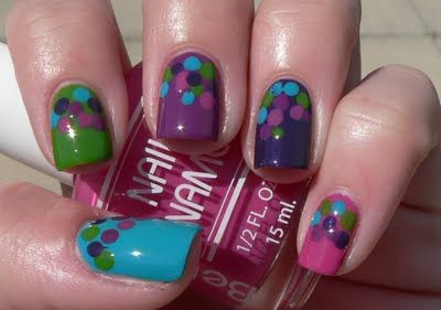 """The Skittles of Indecision"" - cute idea for a younger kids nails"