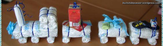 Geschenkidee zur Geburt: Windelzug (auch als Geldgeschenk) Windel Zug