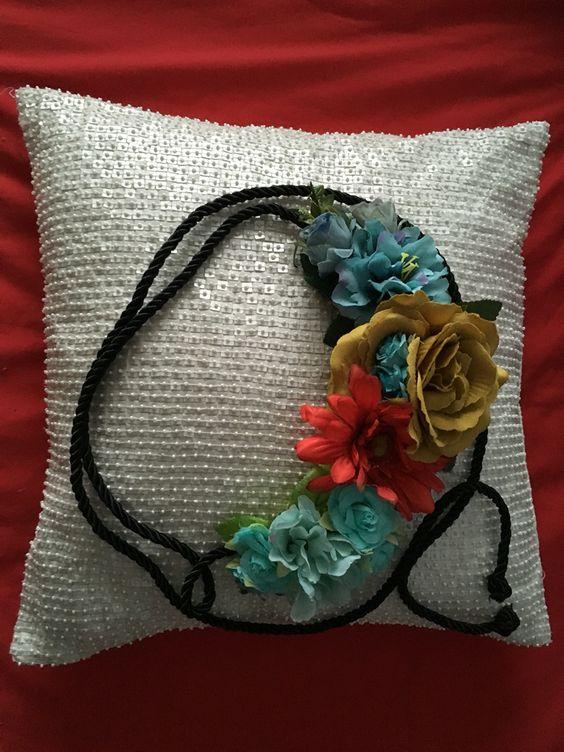 Cinturón casero. Flores.