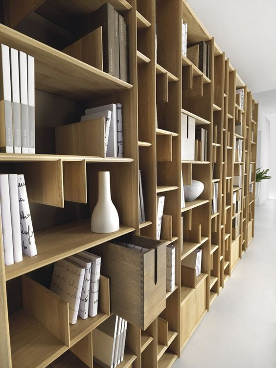 Wall mounted wooden bookcase espace by domus arte books - Wall mounted bookshelf designs ...