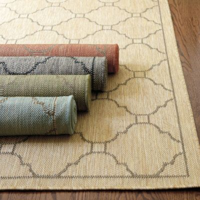 Geneve Indoor Outdoor Rug:    The pattern reminds us of a tiled Mediterranean courtyard. Ideal for high-traffic, spill- prone areas like kitchens and mudrooms, it's loomed in a durable weave of UV protected, 100% polypropylene to resist fading, stains and mildew. Use of a Rug Pad is recommended.