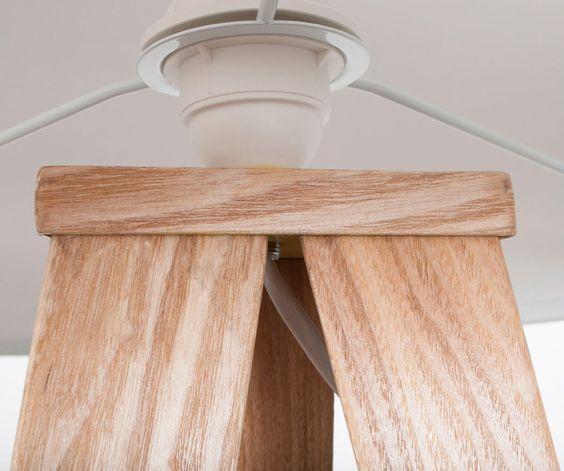 Stehlampe Tripod Wood Weiss