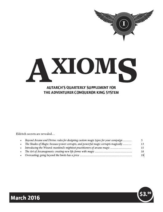 Axioms Issue 1: