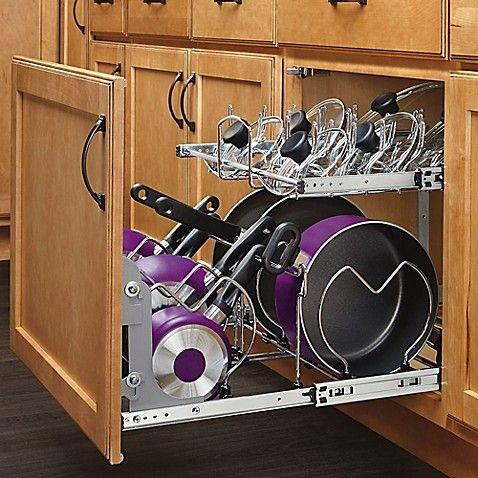 Rev A Shelf 5cw2 2122sc Cr Pull Out 2 Tier Base Cookware Organizer