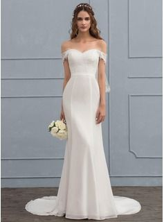 Trumpet/Mermaid Off-the-Shoulder Court Train Chiffon Lace Wedding Dress With Beading Sequins (002119786) - Wedding Dresses - JJ's House