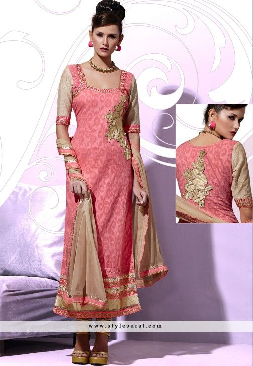 Peppy Pink And Chikko Color Party Wear Churidar Salwar Suit