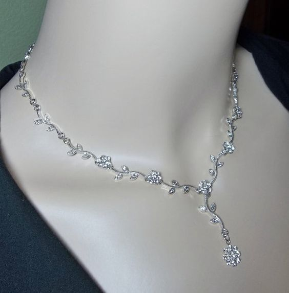 Silver Necklace and earrings SET  Bridal by QueenMeJewelryLLC, $49.99
