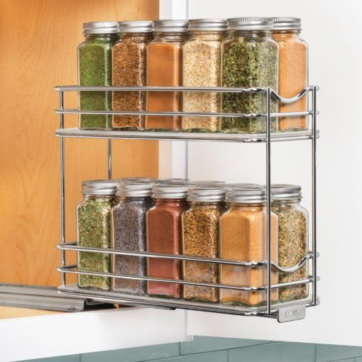 430422 Professional Roll Out Spice Organizer Two Tier Spice Rack Organiser Pull Out Spice Rack Diy Kitchen Storage