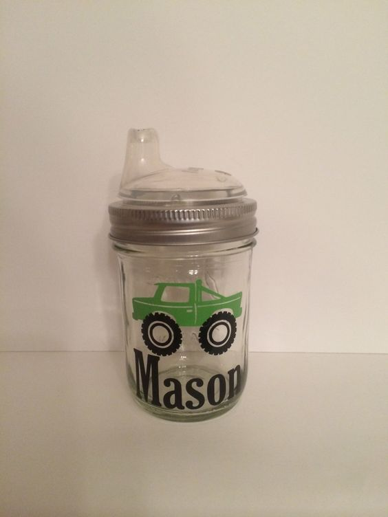 1 Personalized Glass Mason Jar Sippy Cup, Canning Jar Sippy cup, custom baby cup, Personalized Baby Cup, Toddler Cup, party favor, baby gift by KissMasonJars on Etsy https://www.etsy.com/listing/221645561/1-personalized-glass-mason-jar-sippy-cup