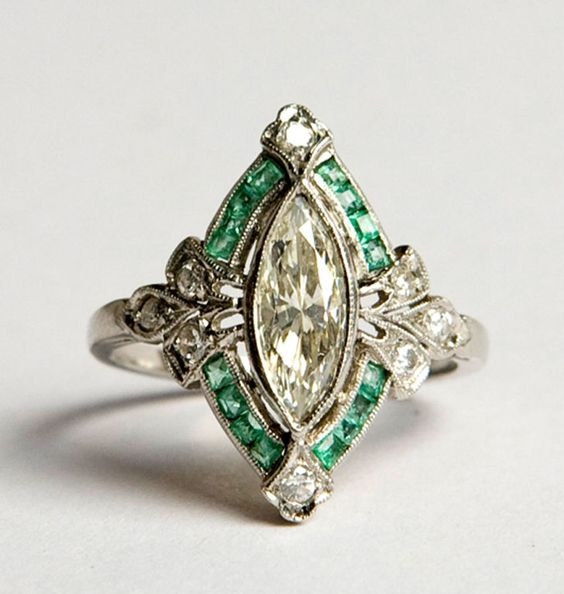 French 1930's art deco diamond and emerald ring.