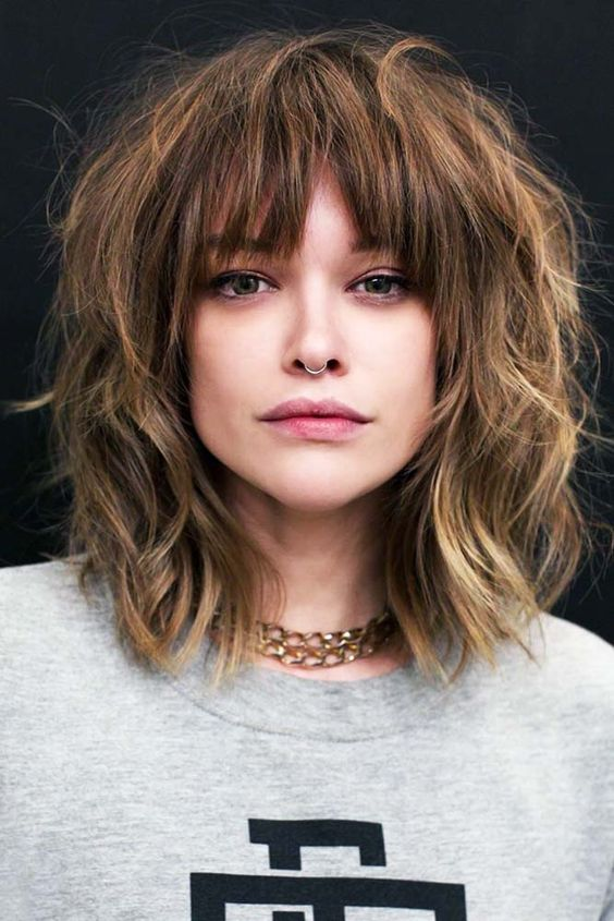 Messy Shag #bangs #wispybangs ❤ Want to go for stylish wispy bangs? Our short, soft fringes for long hair, shoulder length bob with layers and thin side swept bags, and ideas for round faces are here to inspire you! ❤  #lovehairstyles #hair #hairstyles #haircuts