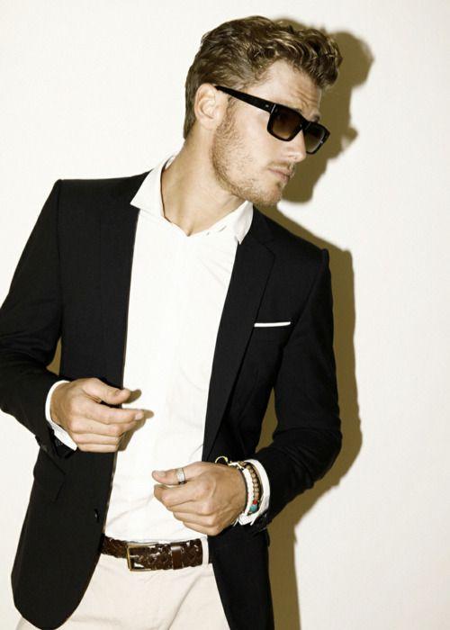white shirt, no tie, black suit-jacket | Mens Style I Favor