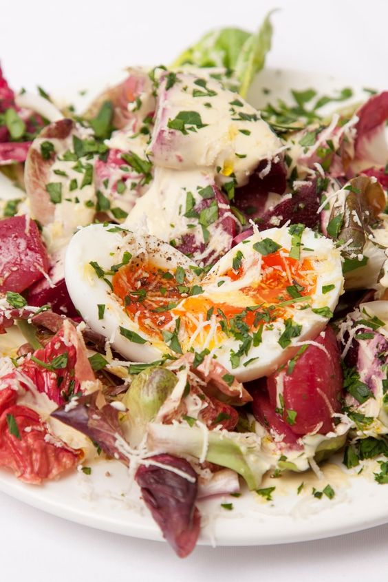 This beetroot salad recipe from Jeremy Lee is bound to become a firm favourite, either as a light lunch or vegetarian starter. Including a stunning Dijon mustard salad dressing recipe, this egg salad recipe is paired with pickled beetroot and fiery horseradish to finish.