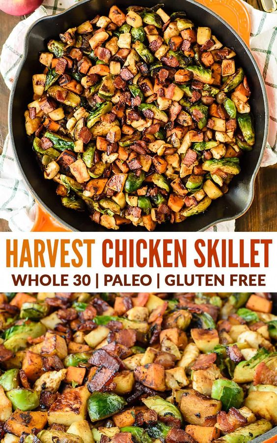 Harvest Chicken Apple Sweet Potato Skillet with Bacon and Brussels Sprouts. A healthy one-pan dinner with all of your favorite fall ingredients! Paleo, Whole30, gluten free, dairy free. #wellplated #paleo #onepan #whole30 via @wellplated #whole30recipes