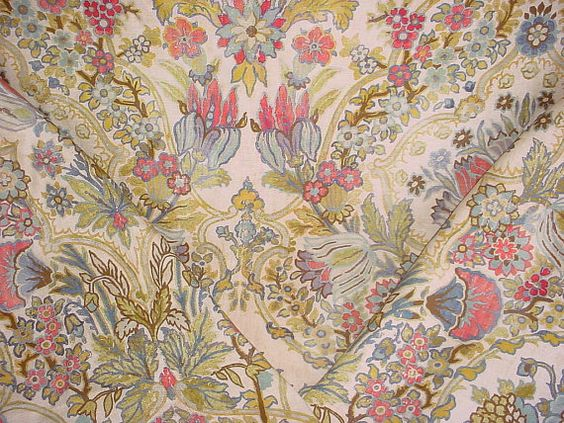 1-1/2 yards Lee Jofa 2013134 Tetbury in Rose/Aqua - Floral Luxury Linen Print Drapery Wallcovering Upholstery Fabric - Free Shipping
