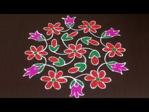 Creative Lotus Rangoli Designs With Out Dots With Colors Simple Kolam Designs Muggul Rangoli Border Designs Rangoli Designs With Dots New Rangoli Designs