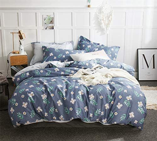 Cenarious Flowers Blue American Style Scandinavian Duvet Cover Set Cotton Flat Sheet Or Fitted Sheet 3pc Bedding Set Blue Duvet Cover Blue Duvet Duvet Covers
