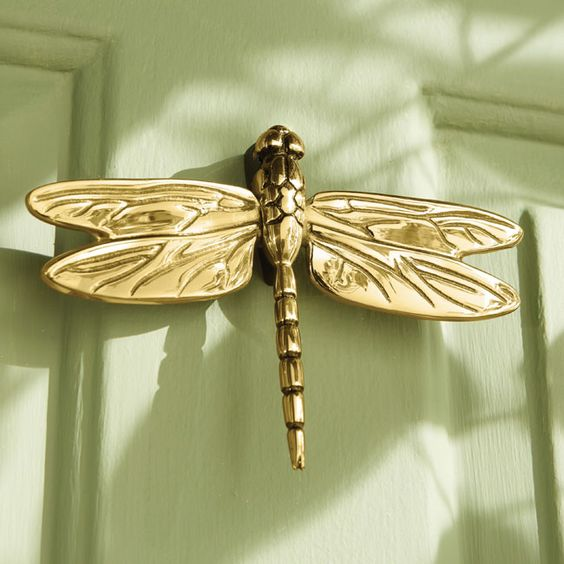 Door knockers doors and brass door knocker on pinterest - Dragonfly door knocker ...