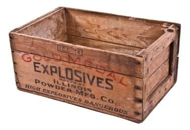 vintage early 20th century gold medal mining explosives or dynamite wood crate