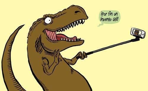 Antes era imposible para los T-Rexes tomarse selfies. Con el palo de selfies, ya no!: