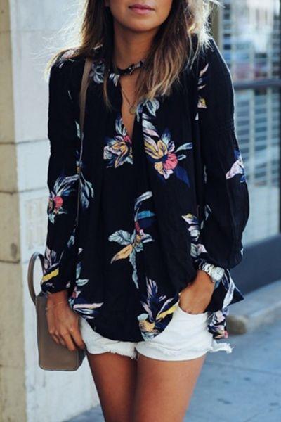 Chic Floral Pattern Chiffon Blouse