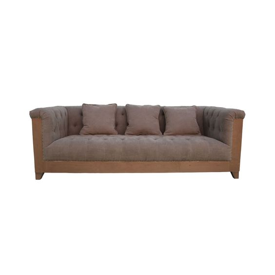 Marseille Padded Sofa with Birch Wood Frame and Tufted Side and Back