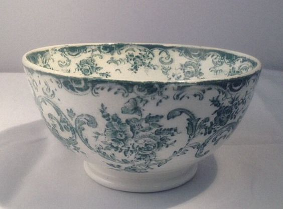 """1890-1920 Royal Bonn Green Transferware 6"""" Bowl"""
