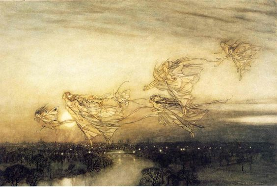 Twilight Dreams, painted in 1913 connection with J. M. Barrie's novel Peter Pan in Kensington Gardens