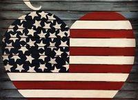 vintage wood americana heart flag, crafts, how to, patriotic decor ideas