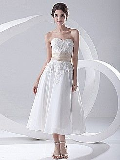 Sweetheart Ankle Length A Line Wedding Dress with Rosette and Sash - USD $128.00