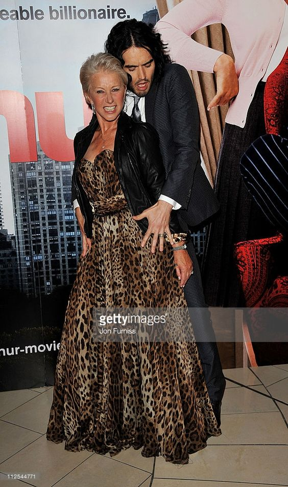 Actors Helen Mirren and Russell Brand attend the 'Arthur' European premiere at Cineworld 02 Arena on April 19, 2011 in London, England.