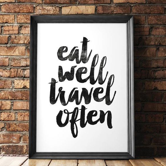 Eat Well Travel Often http://www.amazon.com/dp/B016LF8HWK motivational poster word art print black white inspirational quote motivationmonday quote of the day motivated type swiss wisdom happy fitspo inspirational quote