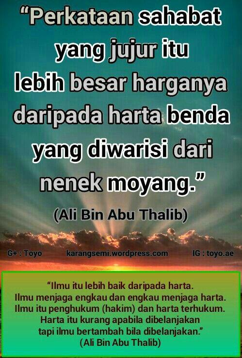 Tentang Sahabat Ilmu Harta Kata Ali Bin Abu Thalib Dengan