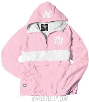 How do you choose? Another great looking jacket found with the Monogrammed Pink and White Pullover Rain Jacket! #Sweet