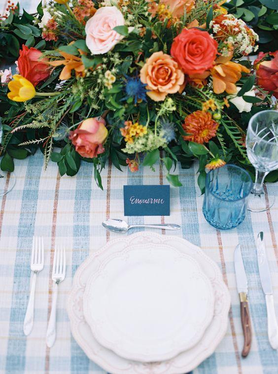 Blue and orange autumn wedding table