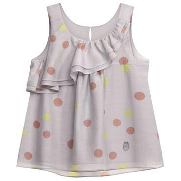 Grey polka dot-printed cotton voile / silk blouse for little girl: