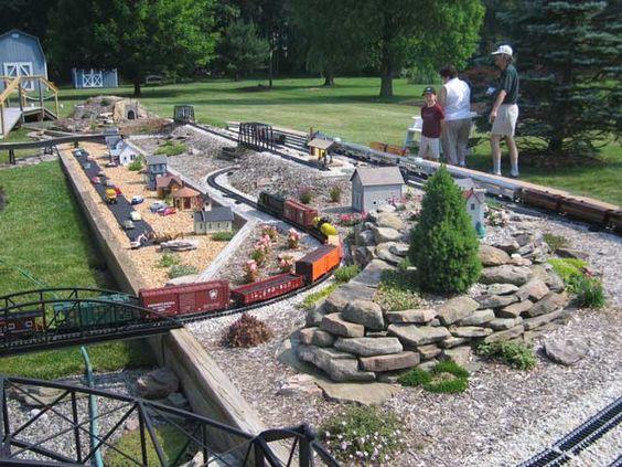 Garden railroad open house and pond design on pinterest for Garden railway designs