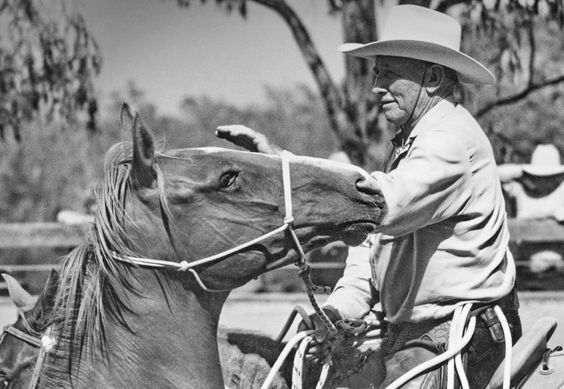 """""""A horse will tell you what he understands and what he thinks about it. He's telling you all the time, but you just don't see it, you're just not willing to go that far in his direction. That's okay, but you're not going to get too much back. To have a willing communication with a horse; you'll find that first you have to develop awareness and discipline within yourself so that you can have it with your horse later."""" - Ray Hunt  Photo Ron Volmershausen, at a colt starting clinic Australia…"""