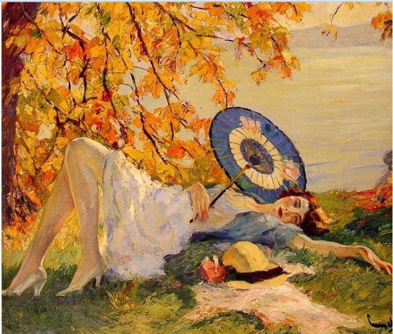 Cucuel, Edward (b,1875)- Woman Reclining by Lake