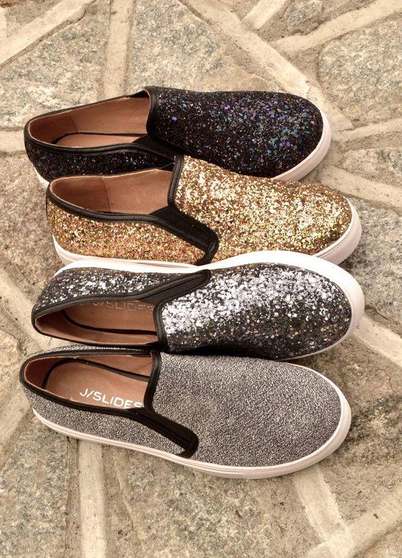 JZees Glitter Slip On Sneakers.