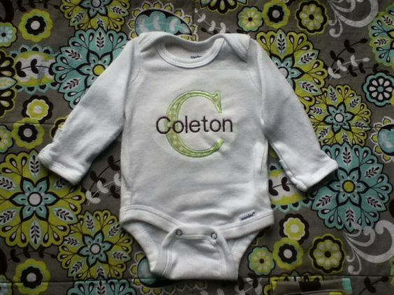 New item discount - Personalized Initial and name onesie bodysuit - appliquéd with color and fabric of your choice on Etsy, $10.50