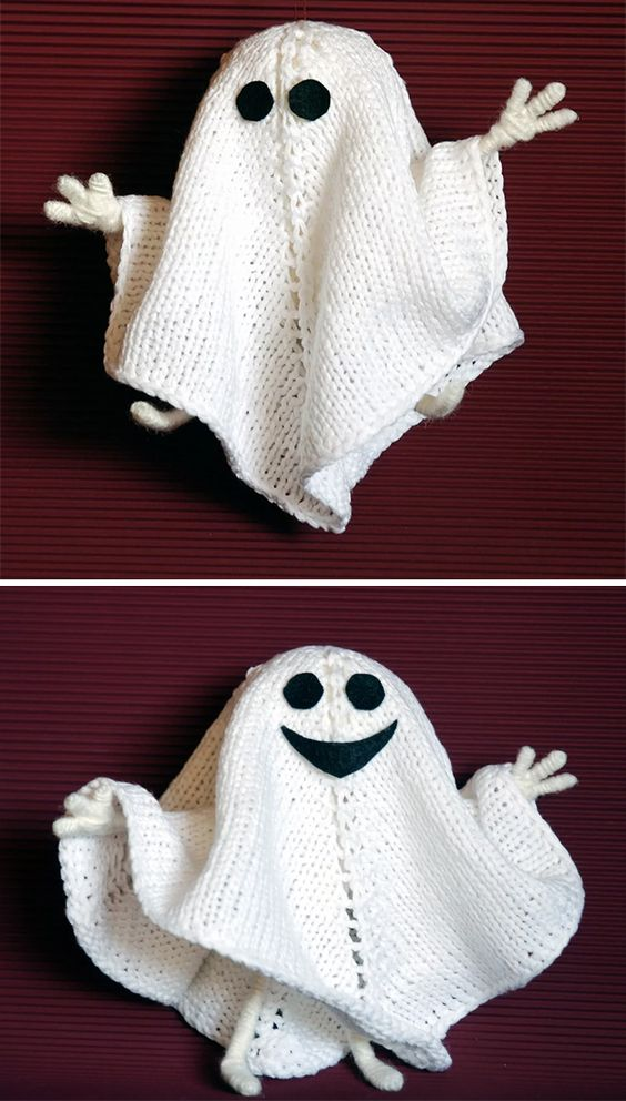 Knitting Patterns for Halloween Ghost - This little ghost decoration or toy has wire inside the legs and arms that allow you to pose your ghosts. The finished doll is approximately 5,9 inches (15 cm) tall. Designed by Denizia Toys.