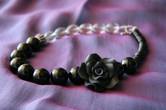 The 'Black Rose' necklace - with crystal beads, black onyx beads and black feature (moulded clay) rose.