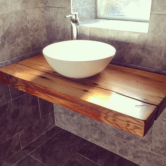 Images Of Our floating bathroom shelf with vessel bowl sink handcrafted wood reclaimed railway sleepers from