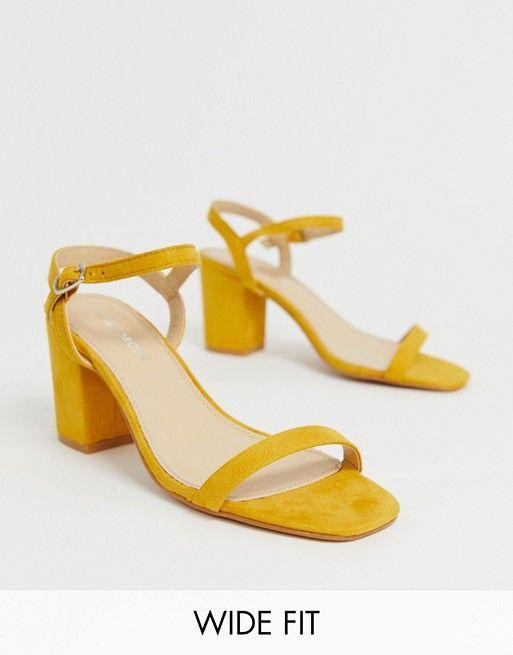 Glamorous Wide Fit yellow block heel