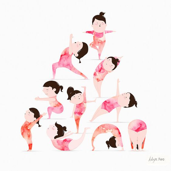 Yoga Illustration Mixed Media: